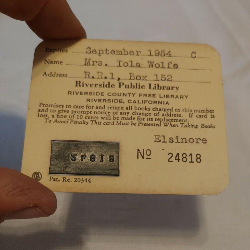 Vintage 1954 Riverside Public Library Card Lake Elsinore California rare