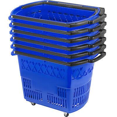 6pcs Blue Shopping Basket 75lbs 21x13.2x14.3in Lightweight Durable Supermarket