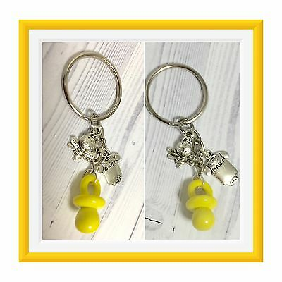 15 Baby Shower Bumble Bee Sweet as can BEE Unisex keychain Pacifier Party Favors