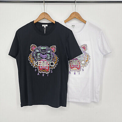 Couple Embroidered Kenzo Paris T-Shirt, Tiger Graphic Print, Black, White New
