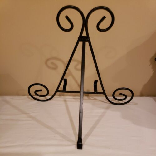 Set Of 3 Lot 11 BLACK Scroll METAL Easel Plate Stand NWOT - $20.00