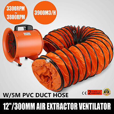 12 Extractor Fan Blower Ventilator W5m Duct Hose Axial Motor Utility Air Mover