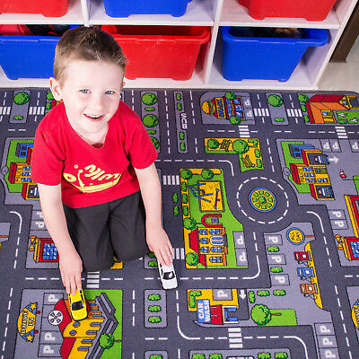 Small Colourful Kid's City Play Mat Fun Town Roads Cars Play Village Road Rug