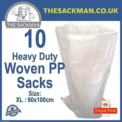10 Extra Large Woven Polypropylene PP Rubble Sacks Heavy Duty Size 60x100cm, XL