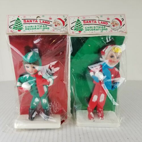 New Vintage Christmas Kids with Snow Balls Figural on Stands 1950 60