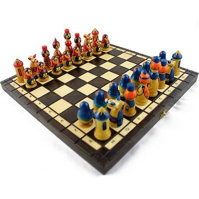 Wooden Chess Set - Matryoshka Russian Dolls Hand Painted Chess Figures Decor Hand Decorated Chess Set