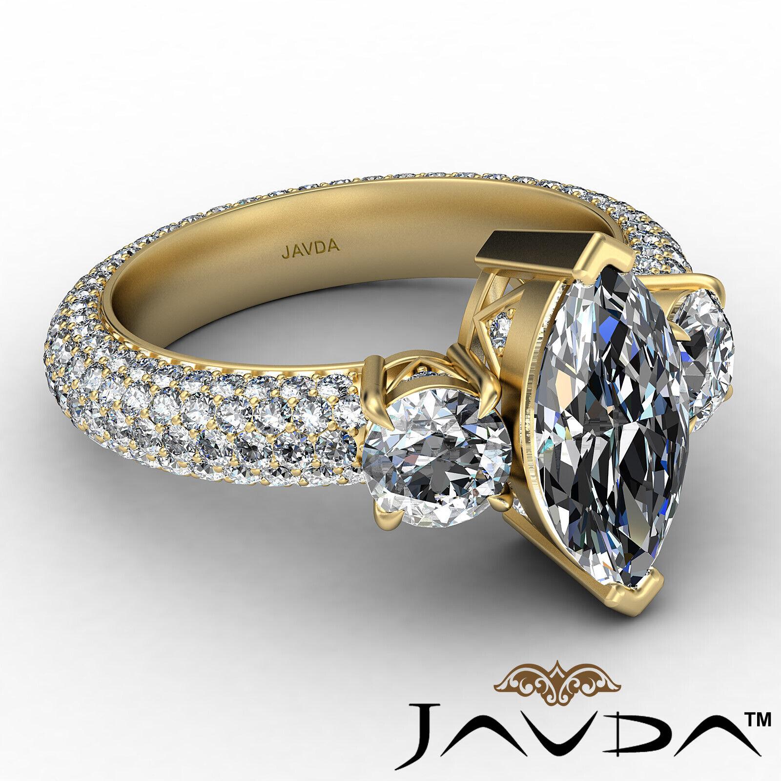 Marquise Diamond Engagement Pave Set Ring GIA K Color & VVS2 clarity 3.05 ctw 7