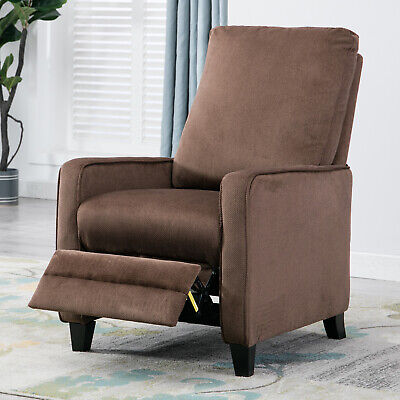 Cocoa Living Room (Manual Recliner Sofa Chair Linen Track Arm Push Back Living Room Chocolate )