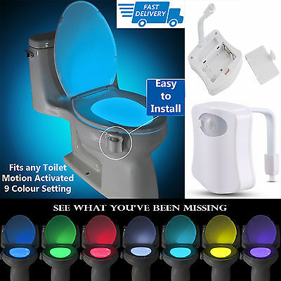 8 Colors Sensor Motion Activated LED Night Light for Toilet Bowl Lighting Lamp