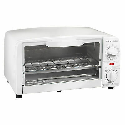 Proctor Silex Substantial 4-Slice Toaster Oven Broiler with Bake Pan, White | 31116R