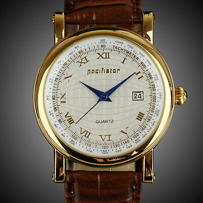 🎁 PACIFISTOR MENS VINTAGE QUARTZ WRIST WATCH DATE ANALOG LUXURY SPORTS LEATHER