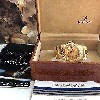 Rolex Day-Date President 18K Oysterquartz Gold Watch Ref 19018
