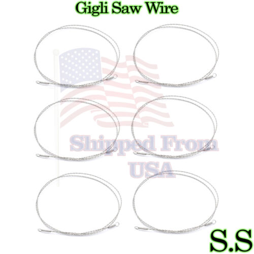 """6 PCS GIGLI Saw Wire Neuro Surgical & Veterinary Instruments 9""""+12""""+20"""""""