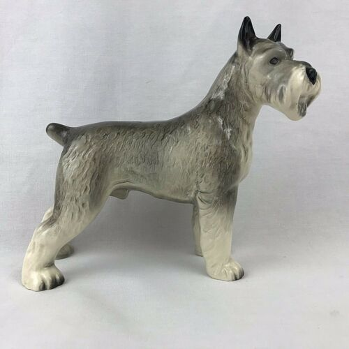 Schnauzer Dog Figurine Porcelain FLAW 7 Inches Tall