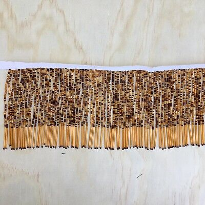 Italy Glass Shade - Vintage Amber Glass Bead Fringe for Lamp Shade by FOOT (ITALY?)