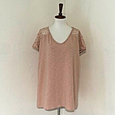 Stitch Fix Size 1X Honey Belle Blush Pink Short Sleeve Top Crochet Lace