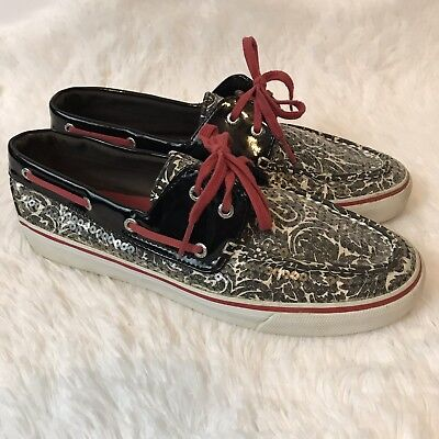 Sperry Biscayne Sequin Boat Shoe Size 9.5 M Black White Floral Red Trim Casual - Red Sequin Shoe