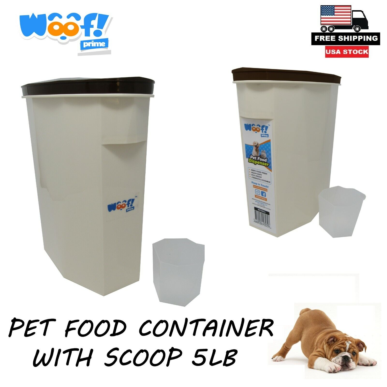 Cat Dog Pet Food Storage Container Pest Proof Dry Food Box Bin Lid With Scoop