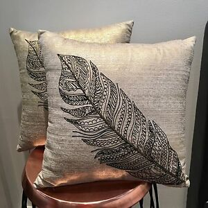 2x gold metallic cushions for sale. As new! West Hoxton Liverpool Area Preview
