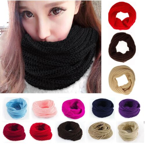 New-Ladies-Women-Wool-Knit-Winter-Warm-Knitted-Neck-Circle-Cowl-Snood-Scarf-Xmas