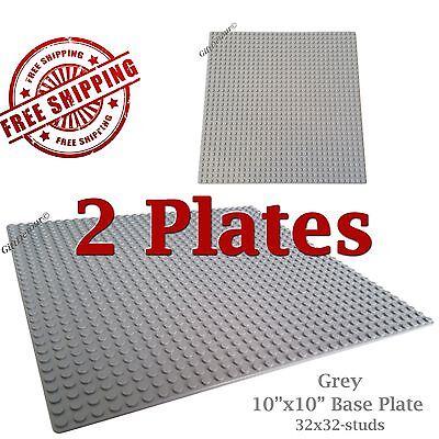 "Genuine LEGO piece-brick + 2 Grey 10""x10"" Base plates 32x32 compatible with LEGO"