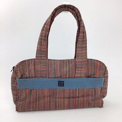 Lisa Lill Studio Hand Bag Tweed Medium Shoulder Stripe Red Blue Green Pockets Lill Studio