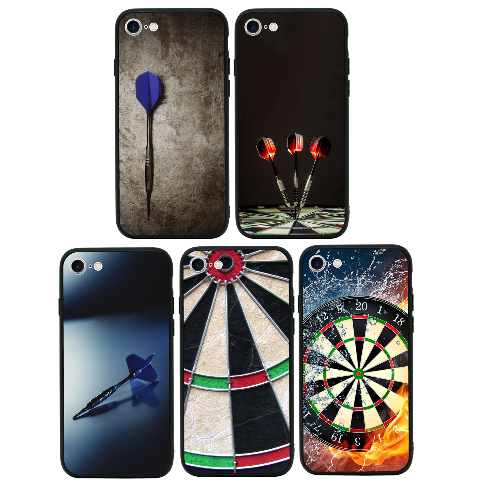 Darts Case Glass Back Bumper Cover for Apple iPhone 7 8 PLUS X XS MAX XR