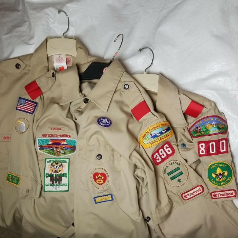 Lot Of 3 Boy SCOUT of America Uniform Shirts Camp Bonner 396/800 Pee Dee Coastal