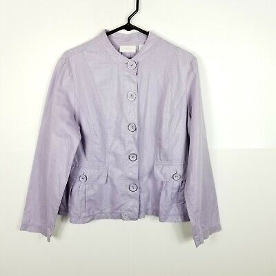 Chicos Linen Cotton Light Jacket Women Button Down  Purple 1