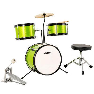 "3 Piece 12"" Complete Junior Drum Set Cymbal Kids Kit w/ Stool Pedal Sticks Green"