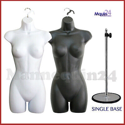 Black White Mannequin Female Torso Dress Forms Set 2 Hangers 1 Stand