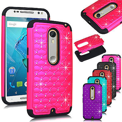 Hybrid Rugged Rubber Bling Crystal Case For Motorola Moto X Style Pure