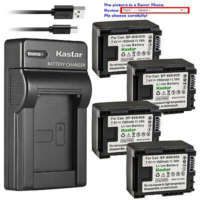 Kastar Battery Slim USB Charger for Canon BP-807 BP-809 BP-819 BP-827 BLI-338