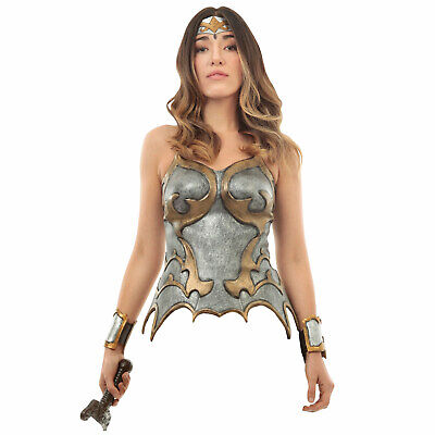 Womens Silver Corset Latex Gladiator Roman Wonder Woman She-Ra Armor Top - Wonder Woman Corset Costume