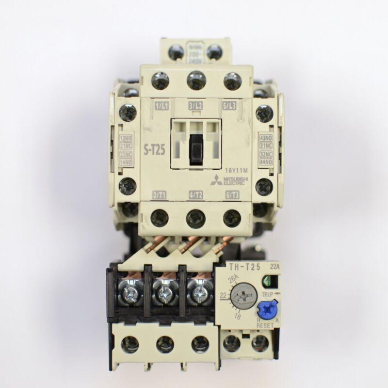 MITSUBISHI Contactor S-T25 3A2a2b Coil: 200V~240V + Overload Relay TH-T25 18~26A
