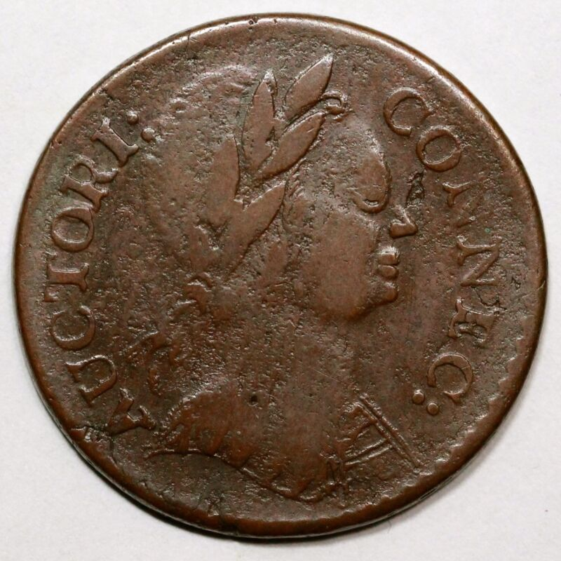 1785 M 3.4-f.2 R3 Mailed Bust Right Connecticut Colonial Copper Cent Coin