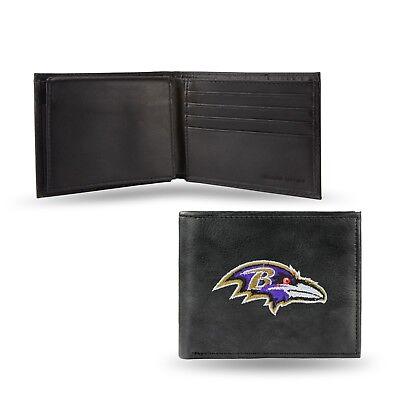 Baltimore Ravens NFL Embroidered Leather Billfold Bi-fold Wallet ~ New