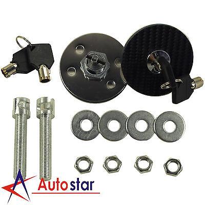 1 Carbon Fiber Hood - 1 Pair Universal Racing Carbon Fiber Mount Bonnet Hood Latch Pin Key Locking Kit