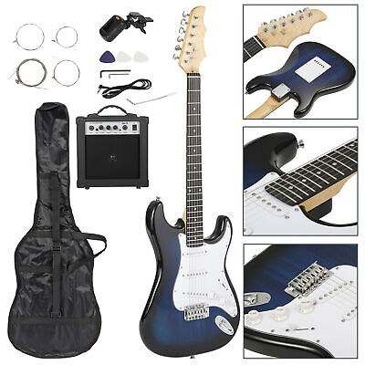 "39"" Electric Guitar Bundle Full Size Digital Tuner 15W Amplifier Bag With Strap"