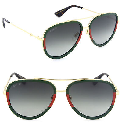 Gucci GG0062S-003 Pilot Sunglasses Front Green/Red Gold Frame / Green (Gucci Sunglasses Green Frame)
