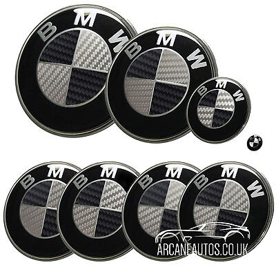 FOR BMW Carbon Fibre Black  Silver Badge Decals Wrap Sticker ALL MODELS Overlay