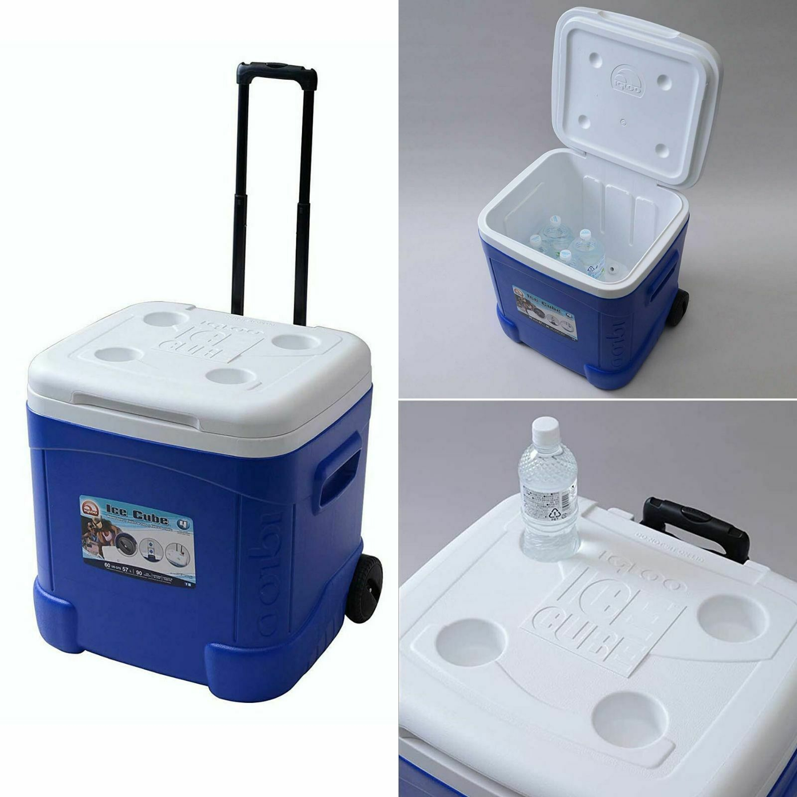 Ice Cube Roller Cooler 60 Quart Durable Wheels Reinforced To