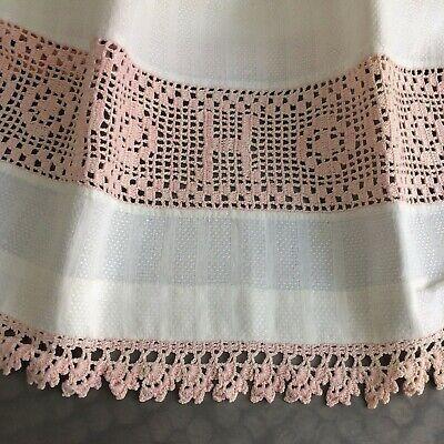 UNUSED Antique vtg ivory linen huck pink crochet lace rose FARM SHAB COT CHIC Antique Rose Farm
