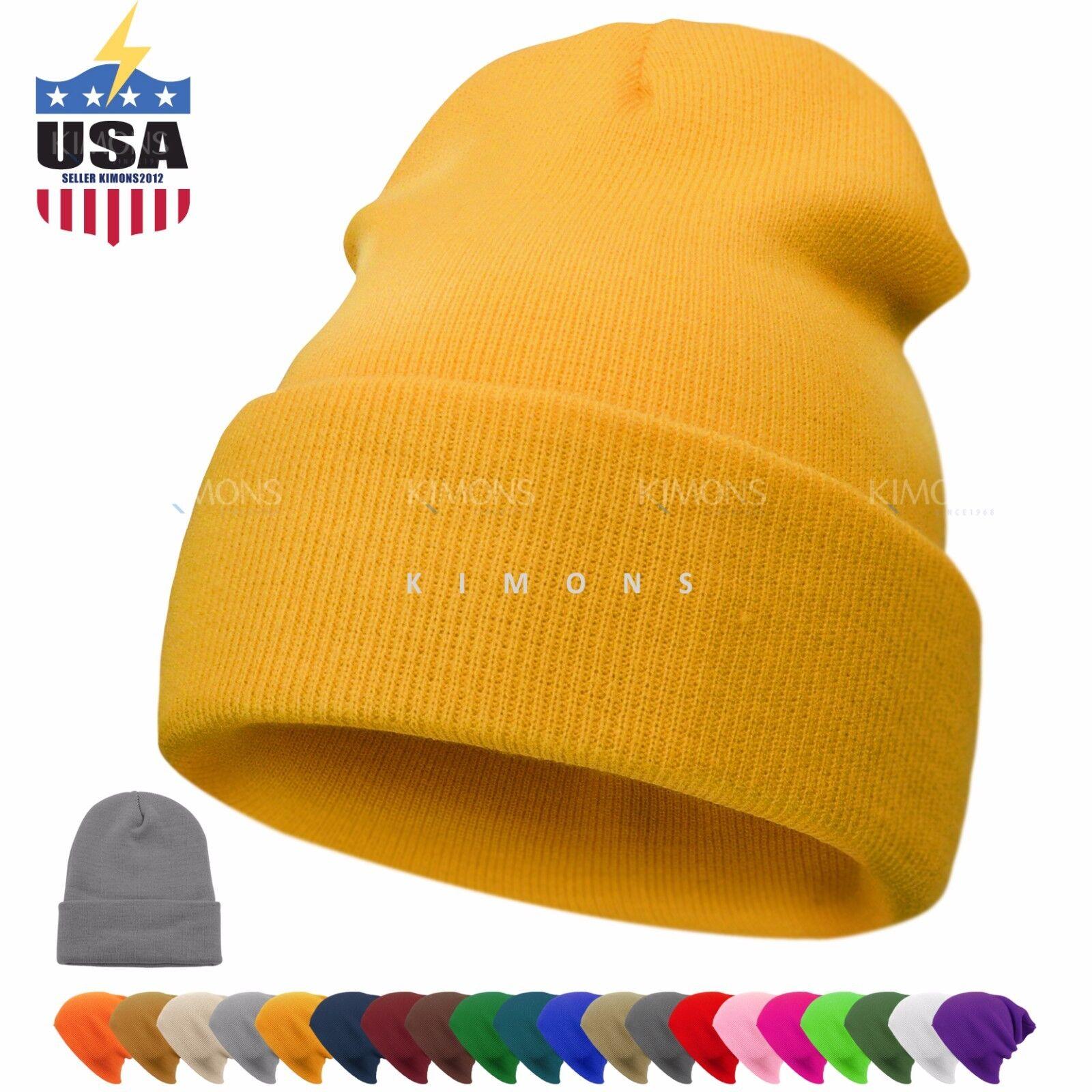 Cuff Beanie Plain Knit Hat Winter Warm Cap Slouchy Skull Ski Hats Men Women Warm