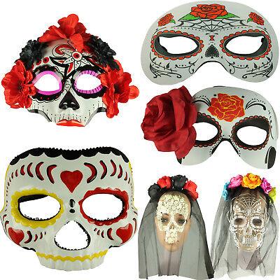 HALLOWEEN DAY OF THE DEAD FACE MASK HALF MASK VEIL MEXICAN DIAS SUGAR SKULL MASK - Half Sugar Skull Face Halloween