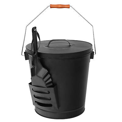 Fireplaces For Wood Burning Stoves - Black Ash Bucket with Lid and Shovel For Fireplaces Fire Pits Wood Burning Stove