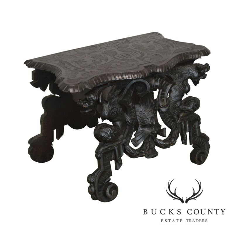 Italian Renaissance Revival Antique Carved Hall Seat Bench