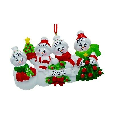 PERSONALIZED Cozy Snowman Family of 4 Christmas Tree Ornament 2019 Holiday Gift ()