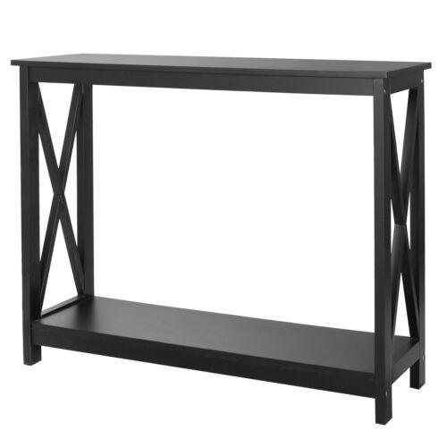 "Finish Oxford 39"" Square 2 Tier Console Sofa Entry Table Console Table Black Furniture"