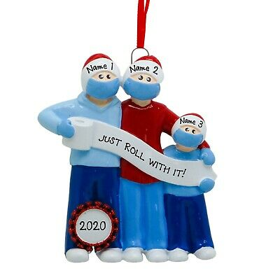 [Personalized Quarantine Survival Family of 3 With Masks Christmas Tree Ornament</Title]